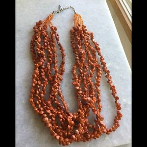 Coldwater Creek Beaded Orange Shell Necklace